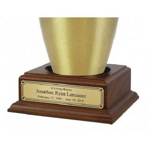 Wood Base with Engravable Brass Nameplate for Funeral Cremation Urn