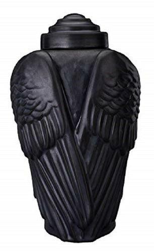 Large/Adult 190 Cubic Inch Black Matte Ceramic Wings Cremation Urn for Ashes