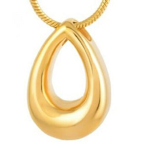 Stainless Steel Gold Teardrop Funeral Cremation Urn Pendant for Ashes w/Chain