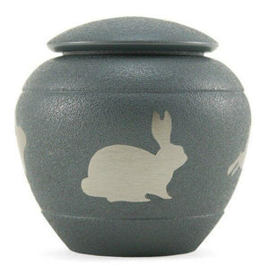 Small/Keepsake Brass Silhouette Rabbit Funeral Cremation Urn, 30 cubic inches