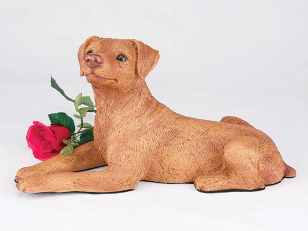 Large 104 Cubic Inches Red & Tan Miniature Pinscher Resin Urn, Ears Down