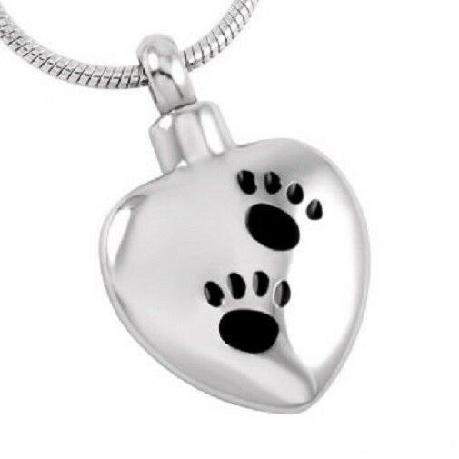 Stainless Steel Heart with Two Paw Prints Funeral Cremation Urn Pendant w/Chain