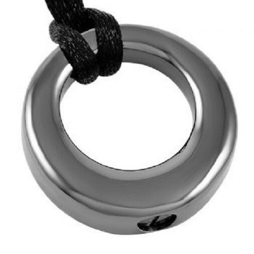 Stainless Steel Gun Metal Circle of Life Cremation Urn Pendant w/Chain