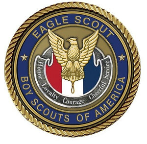 Eagle Scout Medallion for Box Cremation Urn/Flag Case - 4 Inch Diameter