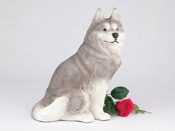 Large 233 Cubic Inches Gray & White Siberian Husky Resin Urn for Cremation Ashes