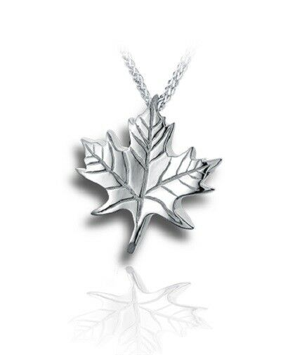 Sterling Silver Maple Leaf Funeral Cremation Urn Pendant for Ashes w/Chain