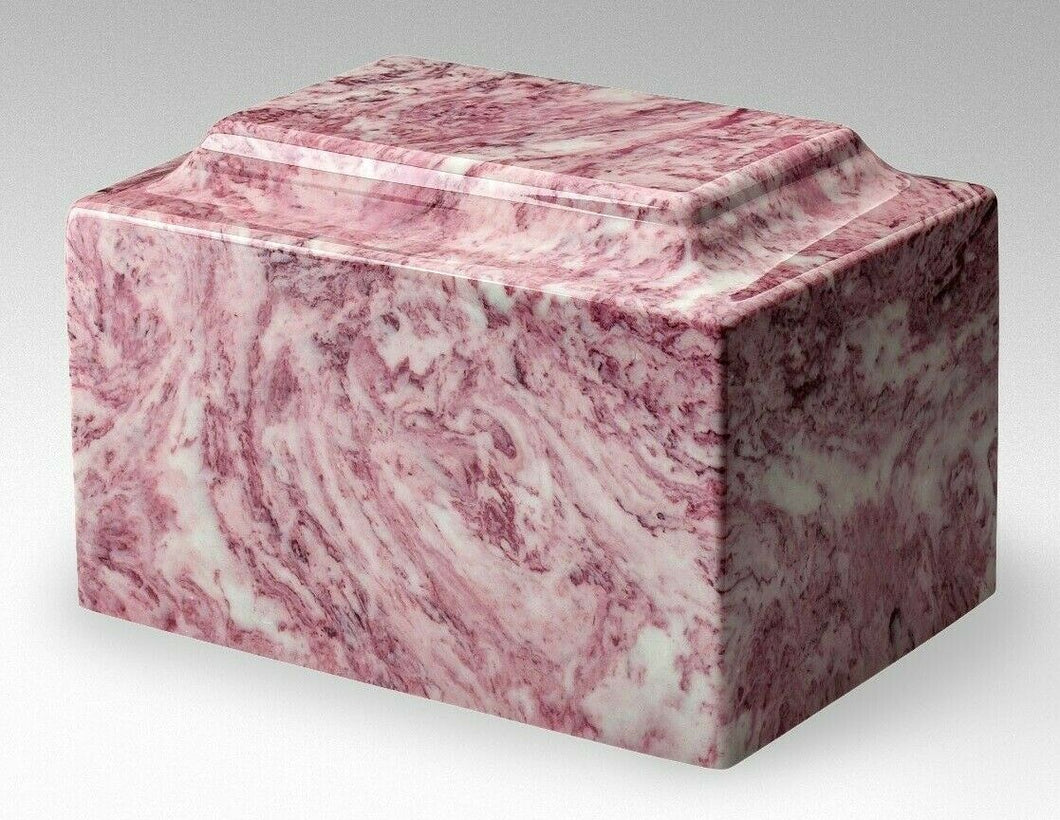 Classic Marble Pink/White Adult 210 Cu. In. Cremation Urn for Ashes,TSA Approved