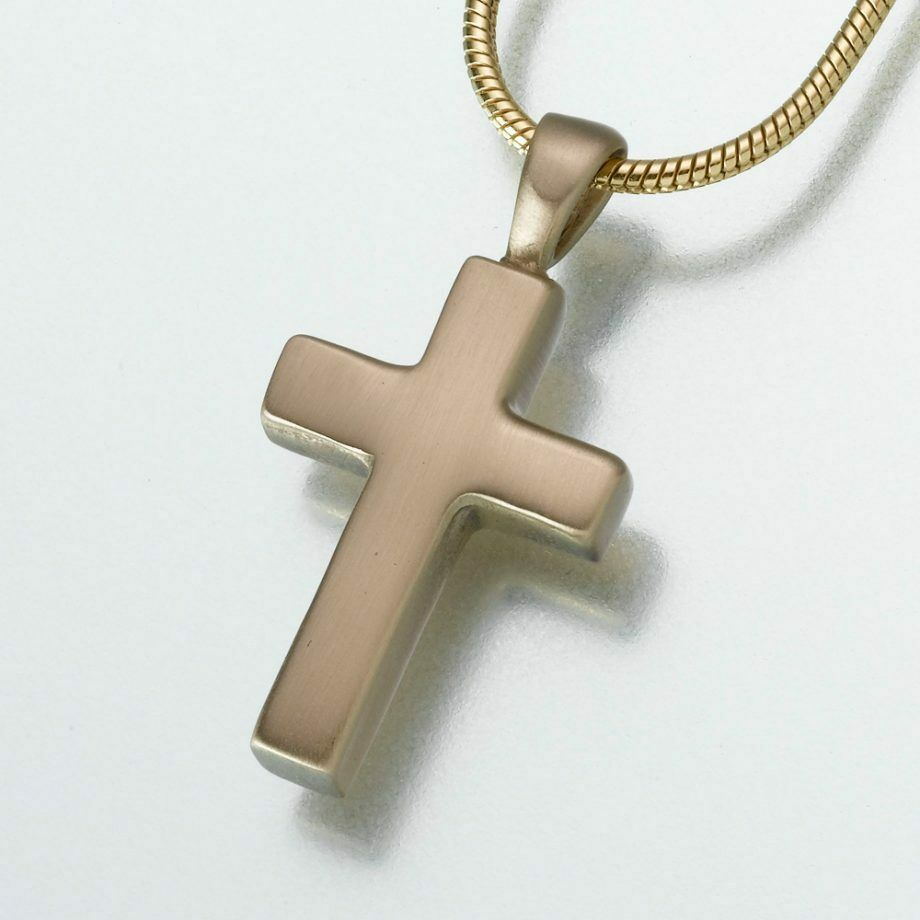 Brass Cross Memorial Jewelry Pendant Funeral Cremation Urn