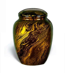 Large/Adult 210 Cubic Inch Fiber Glass Funeral Cremation Urn for Ashes - Gold