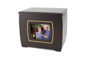 Extra-Large 400 Cubic Inch Modern Companion Funeral Cremation Urn w/Photo Frame