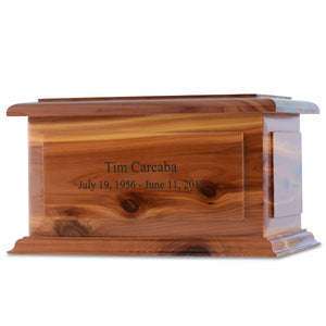 Large/Adult 210 Cubic Inch Alexandria Cedar Wood Funeral Cremation Urn for Ashes