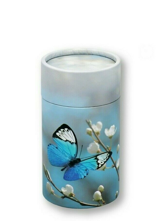 Biodegradable Blue Butterfly Ash Scattering Tube Cremation Urn Keepsake