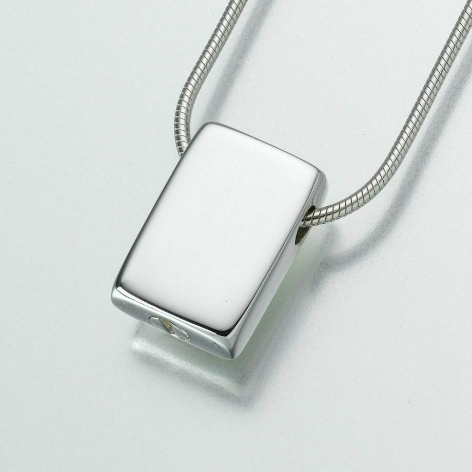 Sterling Silver Slide Rectangle Memorial Jewelry Pendant Funeral Cremation Urn