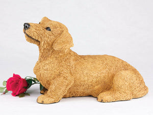 Large 138 Cubic Inches Red Dachshund Wire Haired Resin Urn for Cremation Ashes