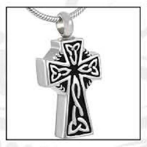 Celtic Cross Stainless Steel Funeral Cremation Urn Pendant w/Chain for Ashes