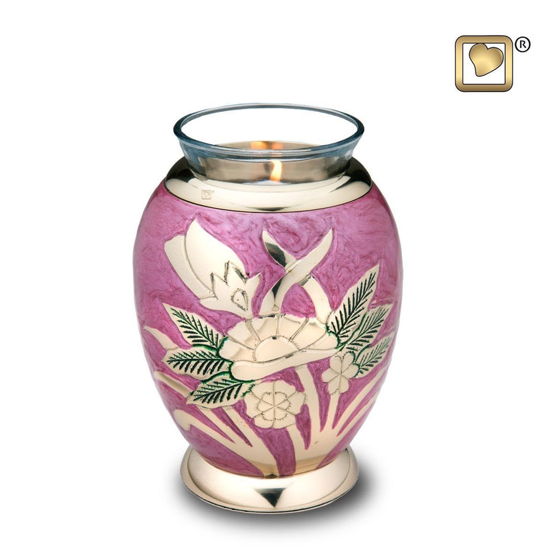 Lilac Rose Tealight Infant/Child/Pet Funeral Cremation Urn, 20 Cubic Inches