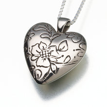 Load image into Gallery viewer, Bronze Floral Heart Memorial Jewelry Pendant Funeral Cremation Urn