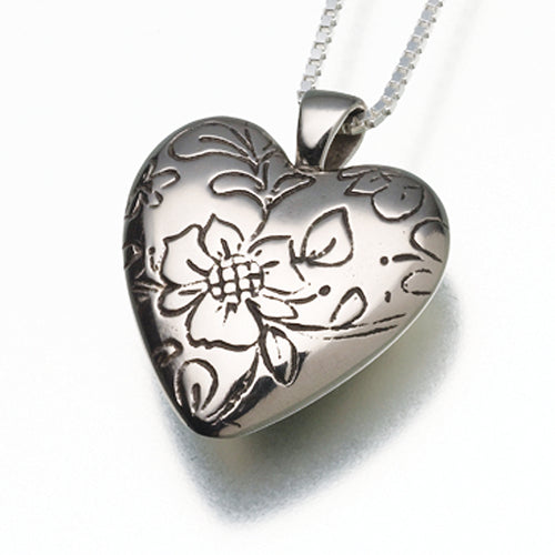 White Bronze Floral Heart Memorial Jewelry Pendant Funeral Cremation Urn