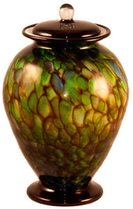 XL/Companion 400 Cubic Inch Venice Forest Funeral Glass Cremation Urn for Ashes