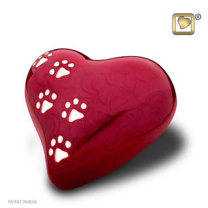 Red Pearlescent Heart Keepsake Pet Funeral Cremation Urn, 3 Cubic Inches