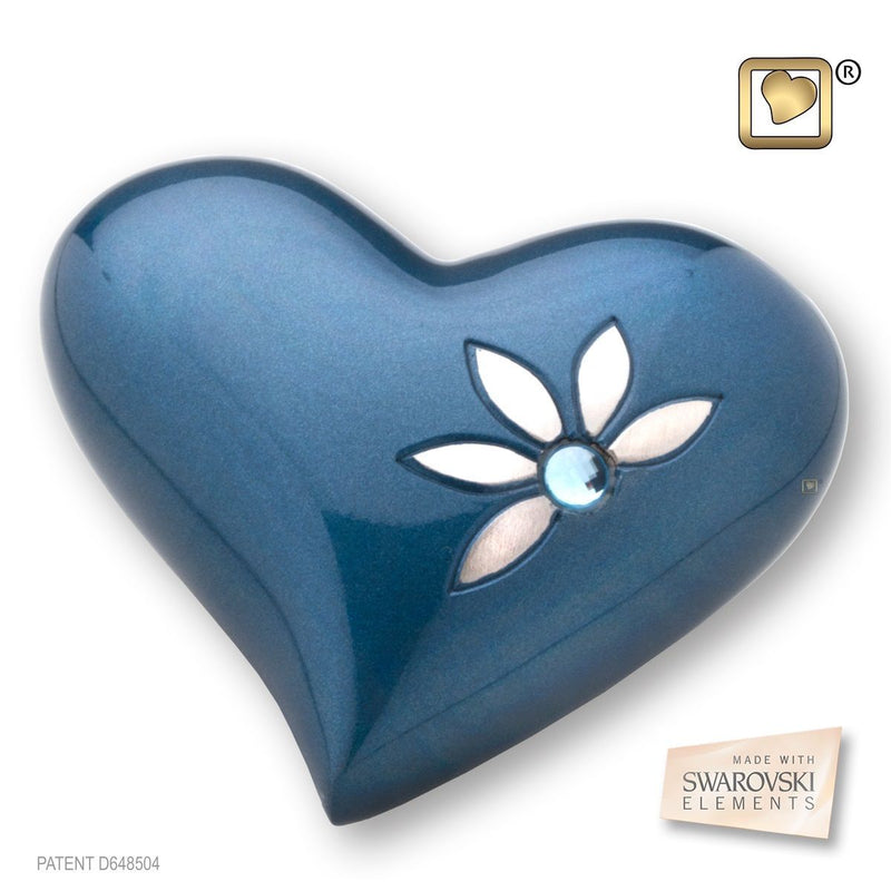 Nirvana Azure Heart Keepsake Funeral Cremation Urn,  2.5 Cubic Inches