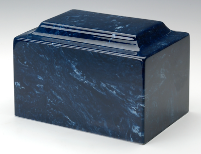 Small/Keepsake Marble Navy Funeral Cremation Urn, 5 Cubic Inches. TSA Approved