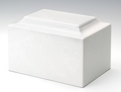 Classic 50 Cubic Inch Marble White Infant/Child/Pet Cremation Urn, TSA Approved