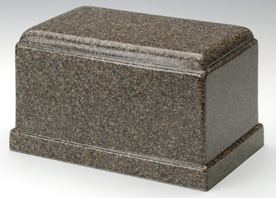 Olympus Brown Granite Adult Funeral Cremation Urn, 275 Cubic Inches TSA Approved