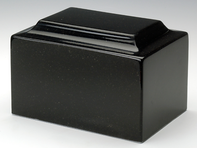 Classic Black Granite Adult Funeral Cremation Urn, 325 Cubic Inches TSA Approved