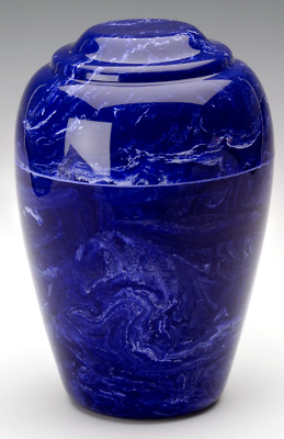 Small Grecian Marble Cobalt Keepsake Cremation Urn, 35 Cubic Inches TSA Approved