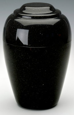Grecian Black Granite Adult Funeral Cremation Urn, 190 Cubic Inches TSA Approved