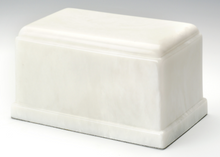 Load image into Gallery viewer, Olympus Marble White Adult Funeral Cremation Urn, 275 Cubic Inches TSA Approved