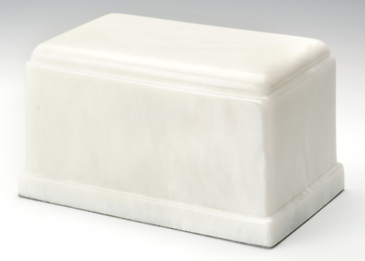 Olympus Marble White Adult Funeral Cremation Urn, 275 Cubic Inches TSA Approved