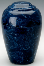 Small Grecian Marble Navy Keepsake Cremation Urn, 35 Cubic Inches TSA Approved