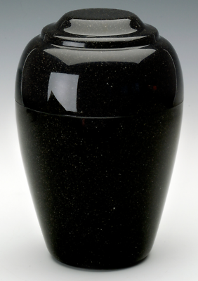 Small Grecian Black Granite Keepsake Funeral Cremation Urn, 35 C.I. TSA Approved