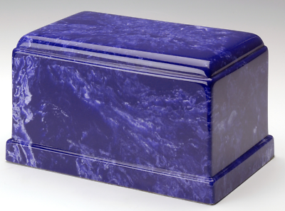 Olympus Cultured Marble Cobalt Adult Cremation Urn, 275 Cubic Inch TSA Approved