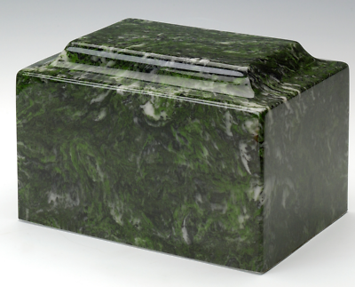 Classic Marble Verde Adult Funeral Cremation Urn, 210 Cubic Inches, TSA Approved