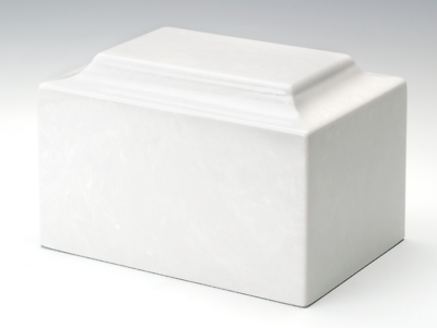Classic Marble White Adult Funeral Cremation Urn, 210 Cubic Inches TSA Approved