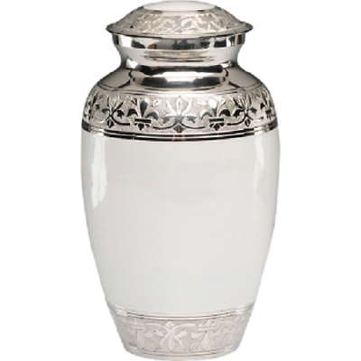 Large/Adult 200 Cubic Inch White Brass Funeral Cremation Urn for Ashes