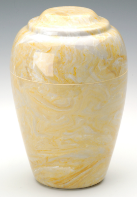 Grecian Marble Gold Adult Funeral Cremation Urn, 190 Cubic Inches, TSA Approved