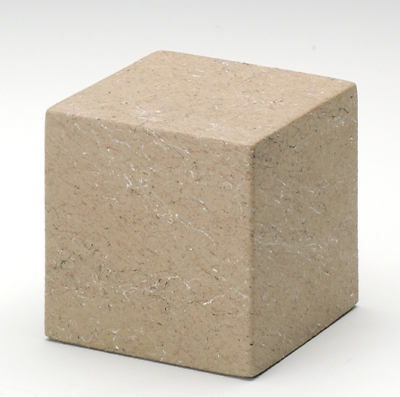 Small Cube Stone Tone Catalina Keepsake Cremation Urn 18 Cubic Inch TSA Approved