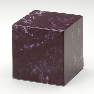 Small Cube Marble Merlot Keepsake Cremation Urn, 18 Cubic Inches, TSA Approved