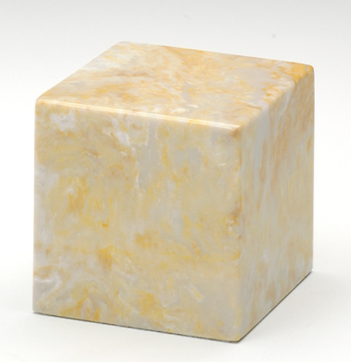 Small Cube Marble Gold Keepsake Funeral Cremation Urn 18 Cubic Inch TSA Approved