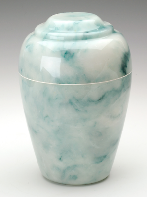 Small Grecian Onyx Teal Keepsake Funeral Cremation Urn, 35 Cu. In. TSA Approved