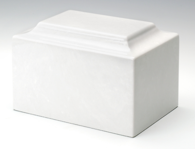 Small/Keepsake Marble White Funeral Cremation Urn, 5 Cubic Inches, TSA Approved