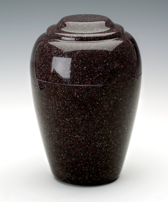 Small Grecian Vintage Red Granite Keepsake Cremation Urn 35 Cu. In. TSA Approved