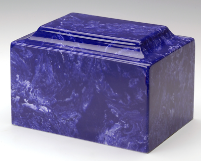 Classic Marble Cobalt Keepsake Funeral Cremation Urn, 25 Cubic Inch TSA Approved