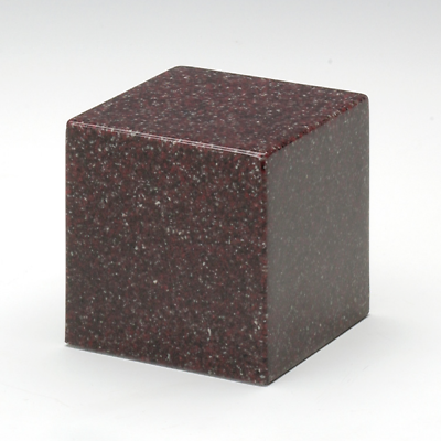 Small Cube Vintage Red Granite Keepsake Cremation Urn 18 Cubic Inch TSA Approved