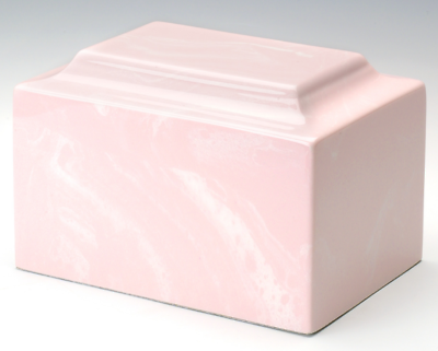 Classic Marble Pink Adult Funeral Cremation Urn, 325 Cubic Inches, TSA Approved