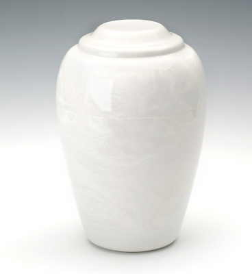 Grecian Marble White Keepsake Funeral Cremation Urn 35 Cubic Inches TSA Approved